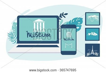 Interactive Museum Exhibition. Laptop And Smartphone . Virtual Museum And Art Gallery Tours In Lapto