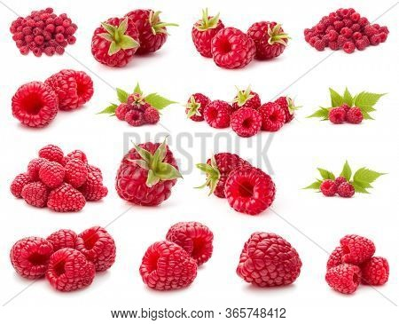 Raspberry isolated on white background. Set of different composition of raspberries.