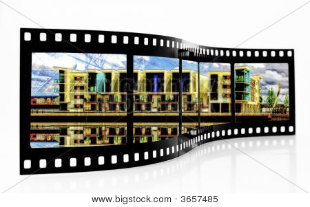 Film Strip of modern waterside appartments on white background poster