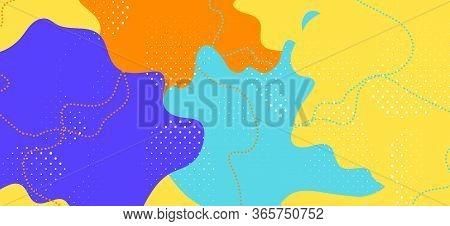 Yellow Memphis Banner. Fashion Geometric Composition. Futuristic Liquid Backdrop. Blue Cool Element.