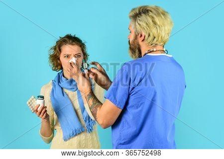 Drug Injection. Vaccine Development. Medical Injection. Man Nurse With Coronavirus Vaccine In Syring