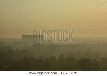 Saint Petersburg, Russia. September, 19, 2014. Misterious Yellow Fog Covers Buildings And Trees.