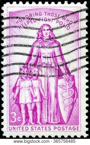 Saint Petersburg, Russia - April 01, 2020: Postage Stamp Issued In The United States Dedicated To Th