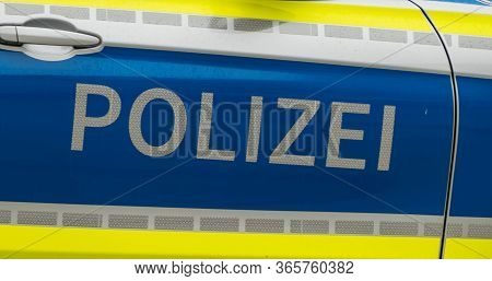 Text And Logo On Car Police German