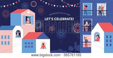 Celebration At Home With Neighbors. People Standing On Balconies, Looking Out Of Windows. Fireworks,