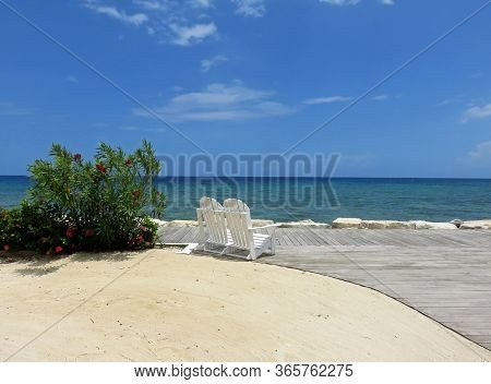 Adirondack Chairs With View Of Montego Bay Jamaica