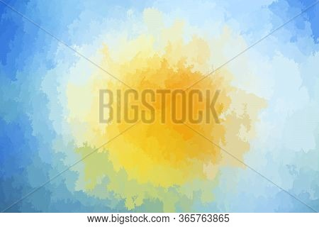 Abstract Modern Vector Blue And Yellow Orange Background, Horizontal Format. Digitally Generated Con