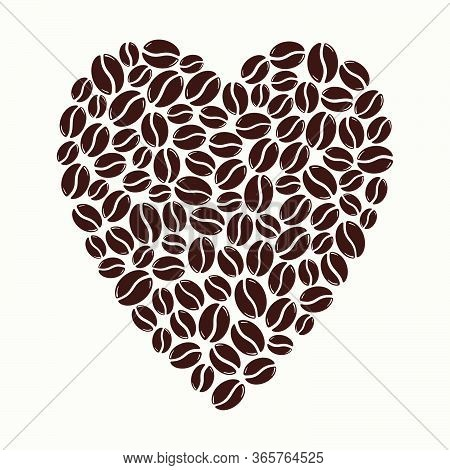 Group Of Roasted Coffee Beans Forming A Heart, Love Caffeine Symbol. Hand Drawn Graphic Vector Illus