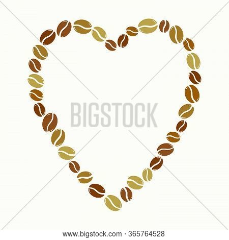Group Of Roasted Coffee Beans Forming A Heart Frame, Love Caffeine Symbol. Hand Drawn Graphic Vector