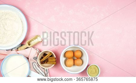 Baking Flatlay Creative Composition Top View For Basic Recipes On Pink Table.