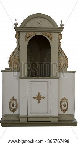 Traditional Catholic Confession Box Isolated On White Background. Where People Would Confess Sins An