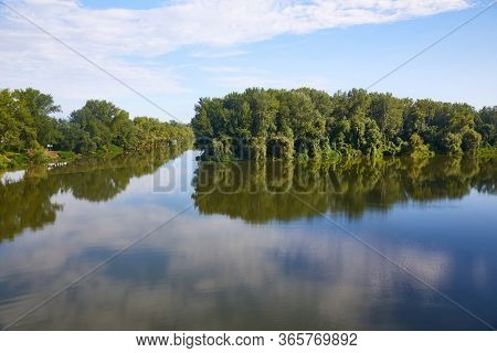River landscape with two rivers merging, Tisza and Bodrog in Hungary