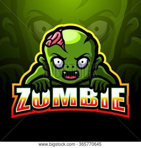 Vector Illustration Of Zombie Mascot Esport Logo Design
