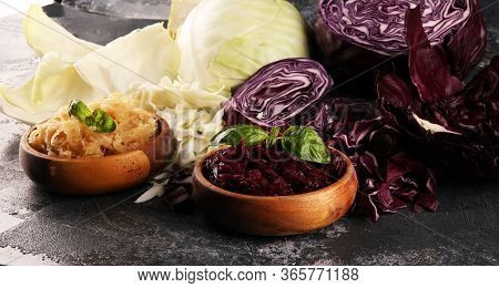 Pickled Red And Fermented White Cabbage And Chopped Fresh Cabbage. Prepare Sliced Vegetable For Cook