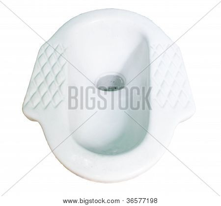 Ceramic Lavatory With Septic Tanks On White Background.