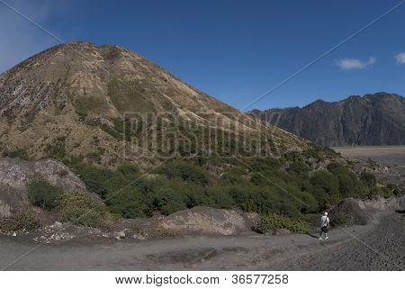 Tourist Walking Past Mount Batok