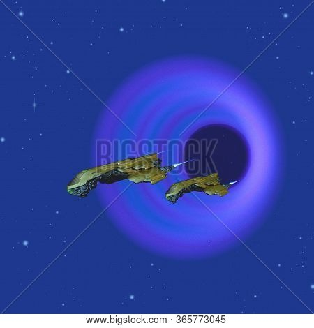Cosmic Wormhole 3d Illustration - Two Spacecraft Come Through A Wormhole In Space On Their Journey T