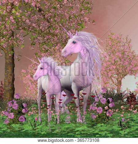 Spring Mare And Foal Unicorns 3d Illustration - A White Unicorn Mare And Her Foal Look Towards A Sou
