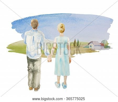 Young Urban Couple Holding Hand In Front Of In The Meadow Back To Watcher And Looking At Their New H