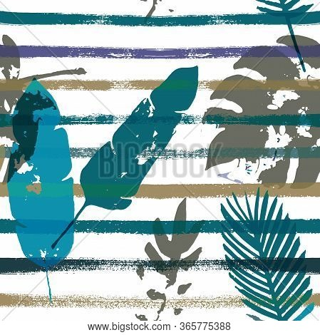 Sailor Stripes Vector Seamless Pattern, Brown Green Khaki Exotic Floral Print. Botanical Jungle Leav