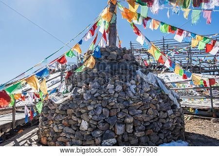 Prayer Flags And Stupa At The Peak Of Shika Snow Mountain Or Blue Moon Valley, Landmark And Popular