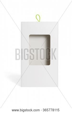 Carboard Package Box with Plastic Window on White Background