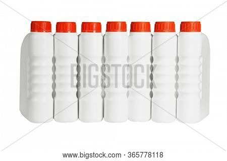 Row of Plastic Containers for Engine Lubricants on White Background