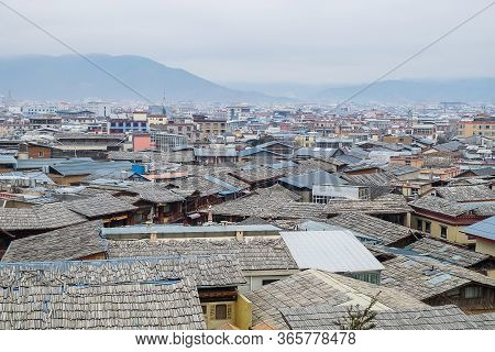 Rooftop View Of Shangri La Old Town At Golden Temple Or Dafo Temple Located In Zhongdian City ( Shan