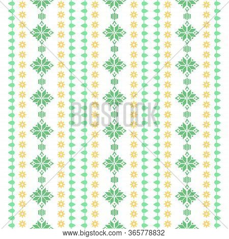 Seamless Stitches Pattern On Embroidery Design For Living Room Wall Decor.