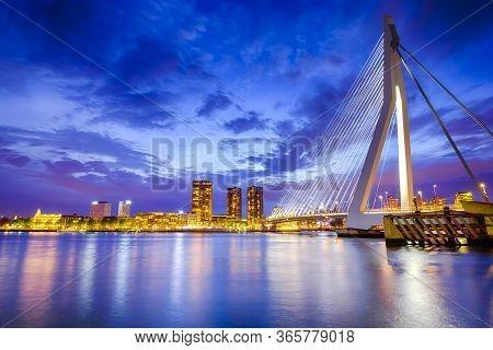Dutch Travel Destination. View Of Renowned Erasmusbrug (swan Bridge) In  Rotterdam In Front Of Port