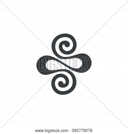 Abstract Ribbon Spiral Loop Design Geometric Logo Vector