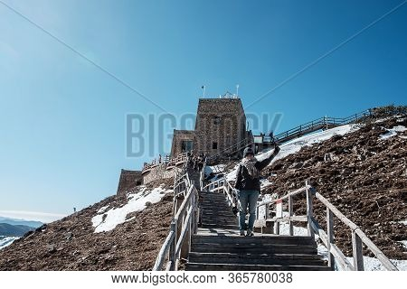 Young Woman Traveler Traveling At Shika Snow Mountain Or Blue Moon Valley, Landmark And Popular For