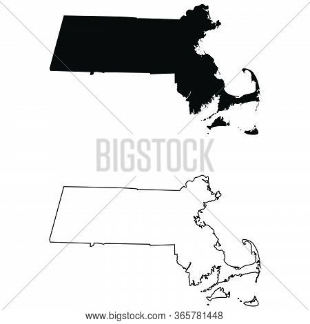 Massachusetts Ma State Map. Black Silhouette And Outline Isolated On A White Background. Eps Vector