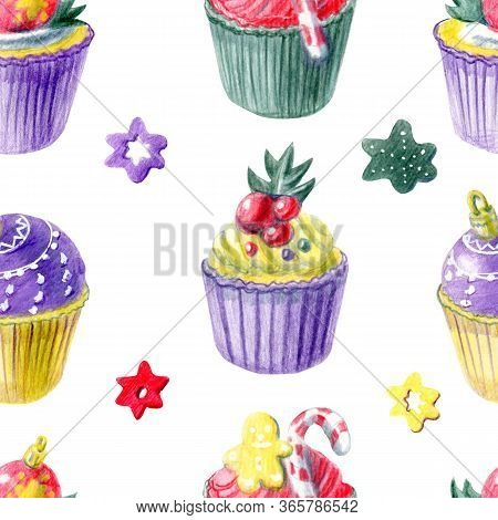 Seamless Pattern Of  Hand Painted Christmas Cupcakes And Different Decorations. Yellow, Red, Purple