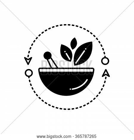 Black Solid Icon For Alternative-medicine Naturopathy Natural-treatment Ayurvedic-treatment Leaf Med