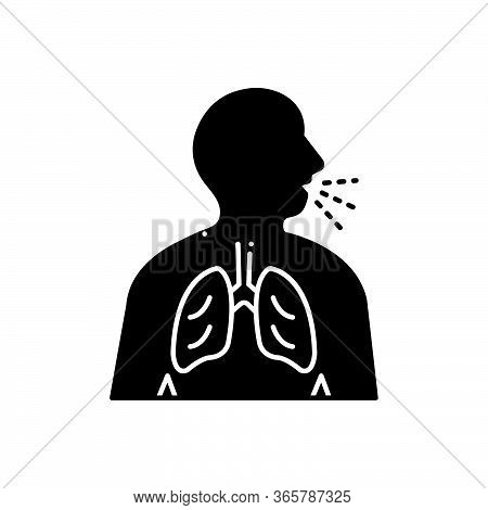 Black Solid Icon For Asthma Inhaler  Respiration-trouble Wheezing Breathe-need