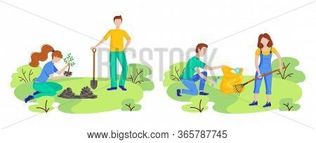 Volunteer People Plant Trees, Cleaning Plastic Garbage In City Park. Vector Flat Set With People Pic