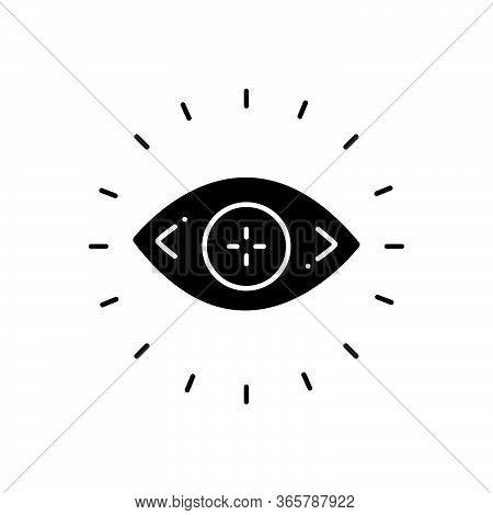 Black Solid Icon For Optometry Optician Eye Eyesight Lens