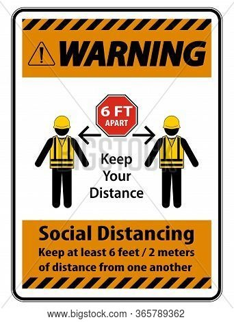 Warning Social Distancing Construction Sign Isolate On White Background,vector Illustration Eps.10