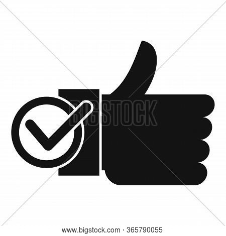 Thumb Up Approved Icon. Simple Illustration Of Thumb Up Approved Vector Icon For Web Design Isolated