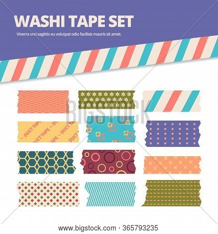 Washi Tape Set. Japanese Stripes Stickers With Colorful Original Tracery, Decorative Ribbons In Cute