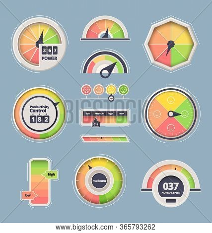 Speedometer Indicator Set. Dashboard Information Of A Full, Empty Tank, Speed, Power, Arrow Tachomet