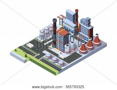 Industrial Factory Built. A Concept Of An Industrial Working Plant With Full Storage Facilities, Arr