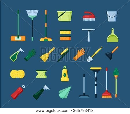 Home Cleaning Tools Set. Equipment For Washing, Sweeping Dust, Cleaning Plastic Mop, Broom, Sponge F