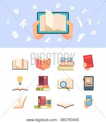 Textbook Knowledge Set. An Open Book Information Hand, Encyclopedia Leafing Pages, E-book Smartphone