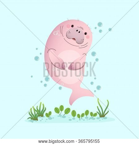 Vector Illustration Cute Cartoon Dugong Swimming Underwater With Seagrass.