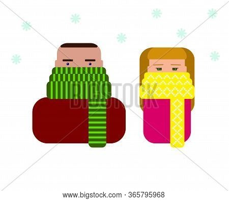 Colored Icons Man And Woman In Scarves In The Disease Season. Stop Virus Winter Vector Stock Illustr