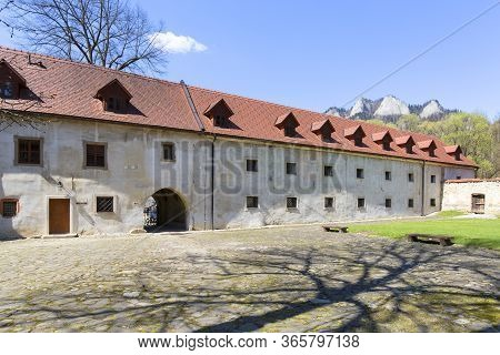 Red Monastery, Slovakia - April 20, 2019: 14th Century Red Monastery, Courtyard Surrounding Wall And