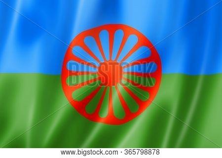 Romani People Ethnic Flag. 3d Illustration Render