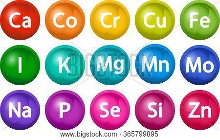 Mineral Supplement Set. 3d Bubbles Multivitamin Complex. Essential Vitamin Icons. Calcium Magnesium